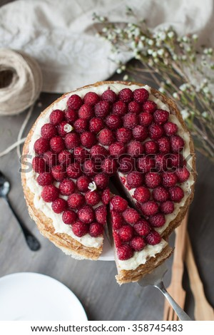 Raspberry pancake cake with cheese cream and white chocolate - stock photo
