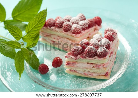 Raspberry pastry with raspberry cream and millefeulle pastry - stock photo