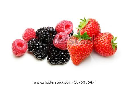 Raspberry, Strawberry, Blackberry  Isolated on White Background - stock photo