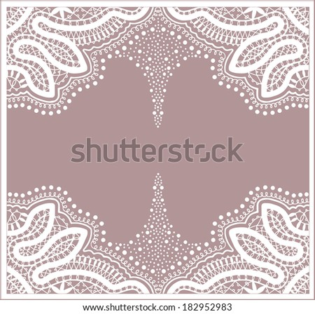 Raster abstract background, lace frame border pattern, hand drawn sketch decoration, retro floral and geometric ornament, white on pink lacy texture - stock photo