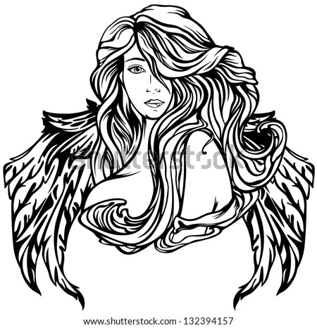 raster - Art Nouveau style angel illustration - black and white winged woman outline (vector version is available in my portfolio) - stock photo