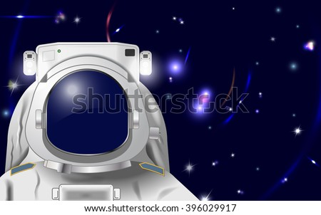 Raster Astronaut Illustration to Put Your Own Face or Reflection in - stock photo