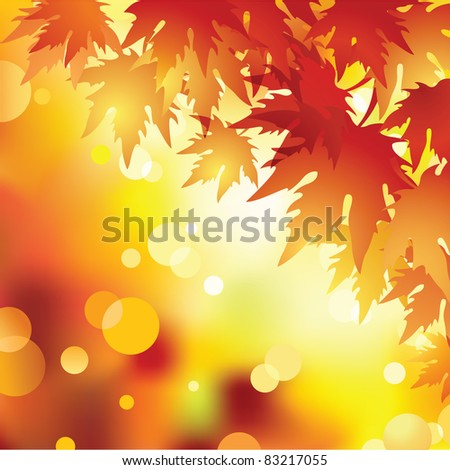 Raster autumn leaves background.Vector. - stock photo