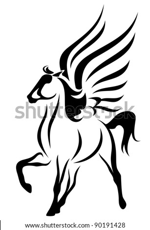 raster - beautiful pegasus illustration - symbol of inspiration (vector version is available in my portfolio) - stock photo