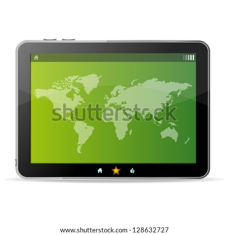 Raster Black tablet on white background and world map - stock photo