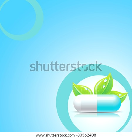 Raster blue medical background with pill. - stock photo