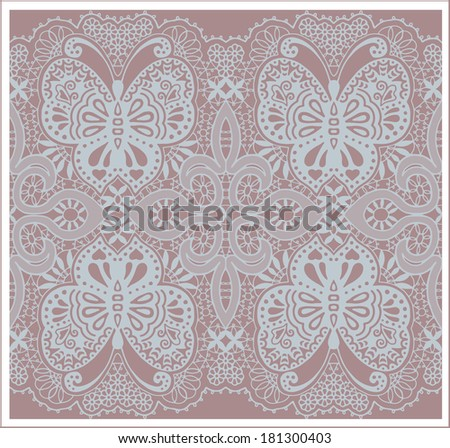 Raster butterfly abstract background, seamless pattern, hand drawn sketch decoration, retro floral and geometric ornament, lace texture - stock photo