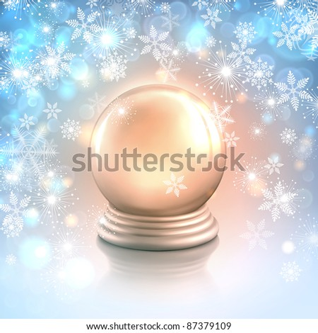 raster Christmas card background with snowflakes, lights and shiny magic crystal ball or empty silver snow globe - stock photo