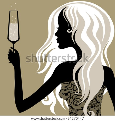 "RASTER Closeup decorative vintage blond woman with glass of champagne (From my big ""Vintage woman collection"") - stock photo"