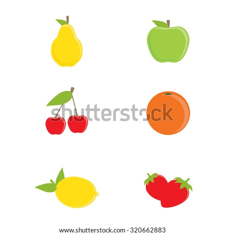 raster collection of fruit icons. Yellow pear, green apple, orange, lemon, cherry and strawberry - stock photo