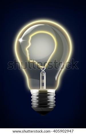 raster Concept Illustration of Human Face Inside Lightbulb - stock photo