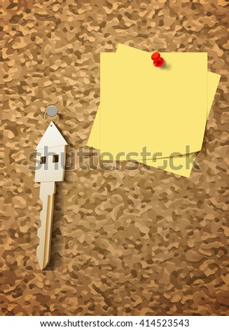 Raster Concept Illustration With Key and Blank Sticker for Your Message, Vector Version Available - stock photo