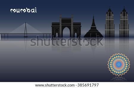 Raster Concept Mumbai Illustration - stock photo
