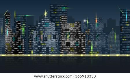 Raster Concept of Digital Cityscape - stock photo