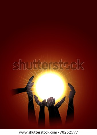 raster  conceptual illustration of hands silhouette holding sun, vector version available - stock photo
