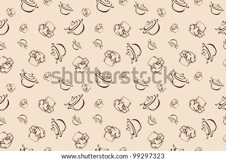 raster - cooking theme retro style seamless background - brown chef hat and steaming pot against beige (vector version is available in my portfolio) - stock photo