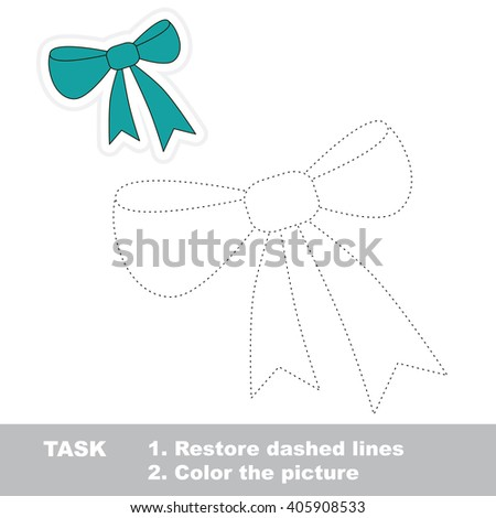 Raster copy. Cartoon bow to be traced. Trace game for kids. - stock photo