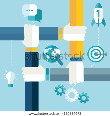 Raster copy growth and start up concepts in flat style.  - stock photo