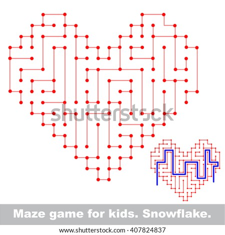 Raster copy. Heart maze game. Search the way. Help to find the solution. Kid labyrinth game. Colorful version. - stock photo