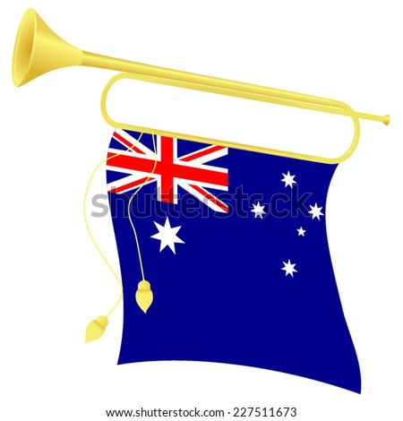 Raster copy illustration bugle with a flag Australia - stock photo