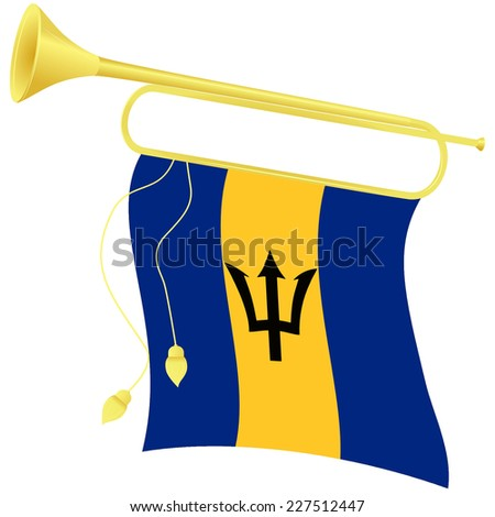 Raster copy illustration bugle with a flag Barbados - stock photo