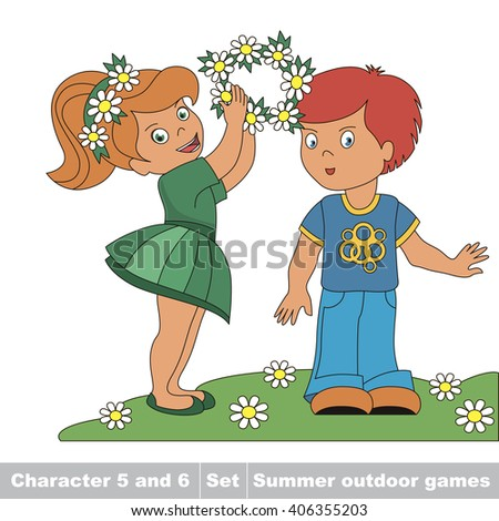 Raster copy. Little baby girl wears boy friend wreath garland of flowers. Children's summer play in the park. Summer outdoor hobby games for children. Kids summer games. - stock photo