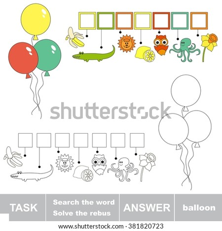 Raster copy. Rebus kid game. Search the word BALLOON. Find hidden word. Task and answer. Game for children. - stock photo