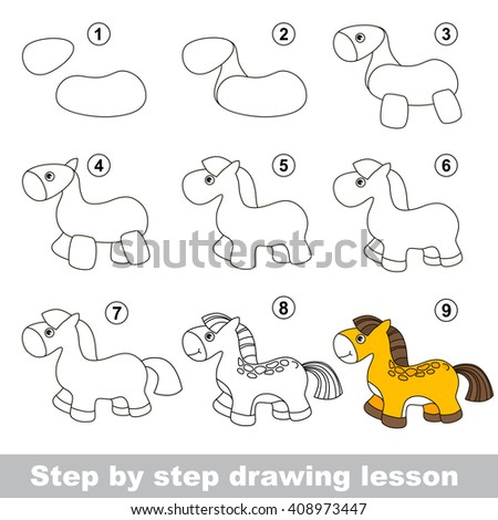 Raster copy. Step by step drawing tutorial. Vector kid game. How to draw a Horse - stock photo