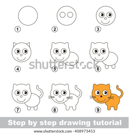 Raster copy. Step by step drawing tutorial. Visual game for kids. How to draw a Small Kitten - stock photo
