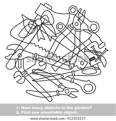Raster copy. Tools mishmash set outlined to be colored.  Find all hidden objects on the picture.  - stock photo