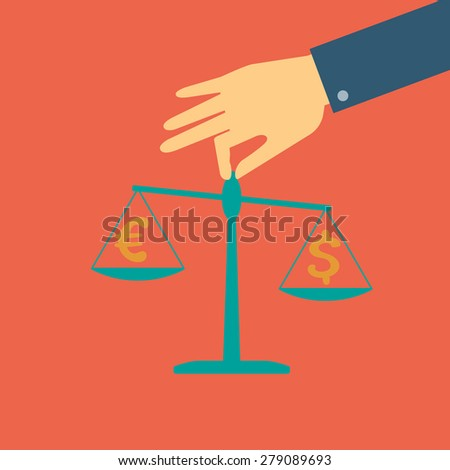 Raster crowdfunding concept in flat style - Human hand holding scales with coins dollar and euro - stock photo