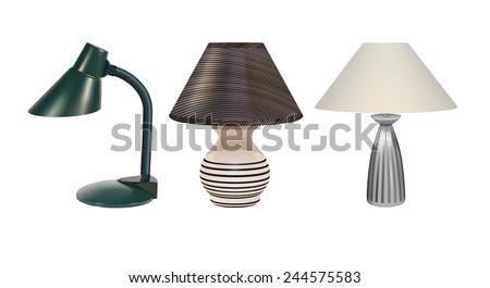 Raster Desk Lamps on White Background - stock photo