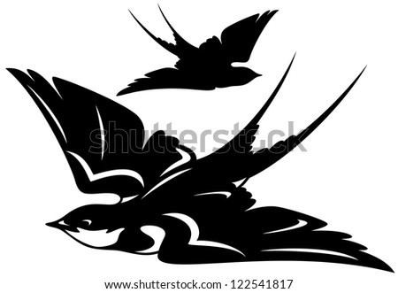 raster - flying swallow bird illustration - black and white outline and silhouette (vector version is available in my portfolio) - stock photo