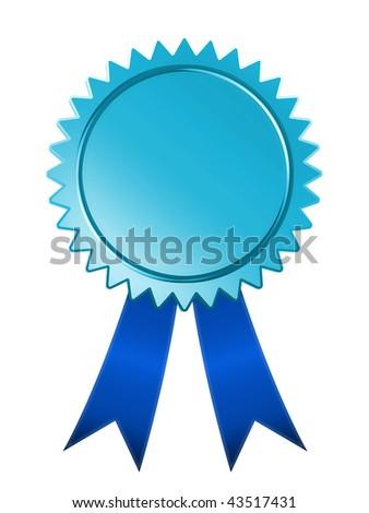 Raster graphic depicting a blue ribbon award - stock photo