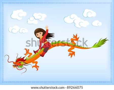 raster greeting card or wish card for children - a cute asian girl riding an ancient Chinese dragon, symbol of New Year 2012, against bright sky with clouds - stock photo