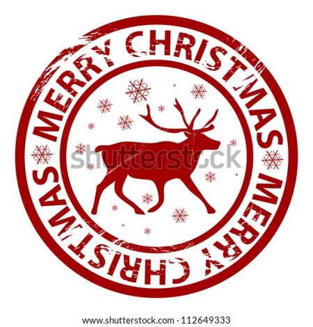 Raster grunge Christmas stamp with reindeer and snowflakes - stock photo