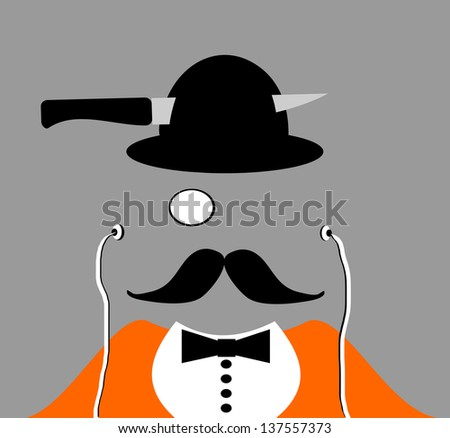 raster halloween man wearing monocle with knife through derby hat - stock photo