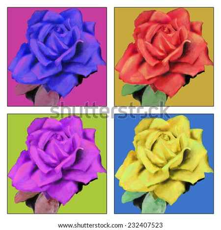 raster hand drawn illustration with bright colorful roses in pop art style. Hand drawn watercolor flowers - stock photo