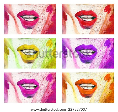 Raster hand drawn illustration with bright lips and nails. Hand drawn watercolor set - stock photo