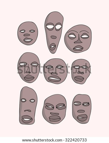 raster hand drawn primitive african masks set. Isolated national ritual elements sketch collection - stock photo