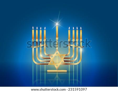 Raster Happy Hanukkah Concept - stock photo