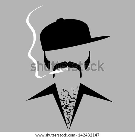 raster hip man smoking - stock photo