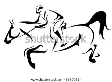 raster - horseman illustration (vector version is available in my portfolio) - stock photo