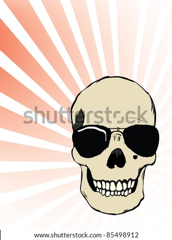 Raster human skull with glasses - stock photo