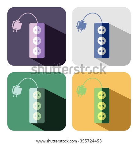 Raster icon. Set of colorful icons of power strip, isolated on the white background - stock photo