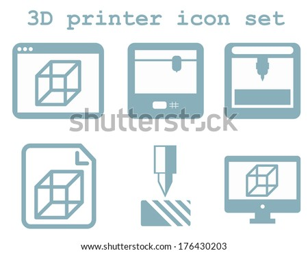 raster icon set of 3d printing technology, flat blue isolated icons: display, window, blueprint, device on white background - stock photo