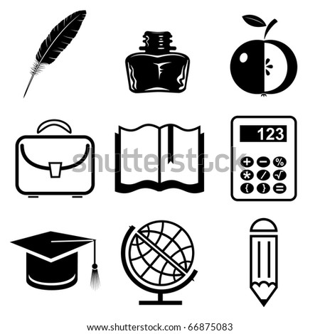 Raster icons of education - stock photo