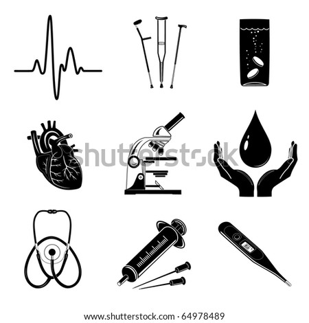 Raster icons of medical elements - stock photo