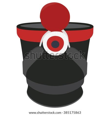 Raster illustation cylindrical military cap, hat with pompom and badge. Infantry shako hat - stock photo