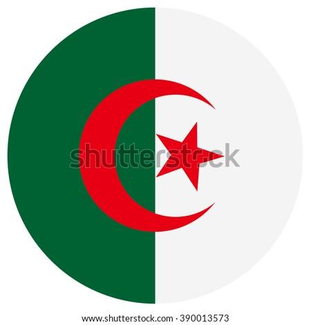 Raster illustration Algeria flag raster icon. Round national flag of Algeria. Algeria flag button - stock photo